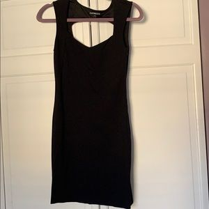 Express black fitted dress with keyhole back
